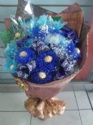 時尚藍金莎花束